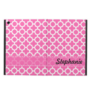 Personalized White on Hot Pink Quatrefoil Pattern Case For iPad Air