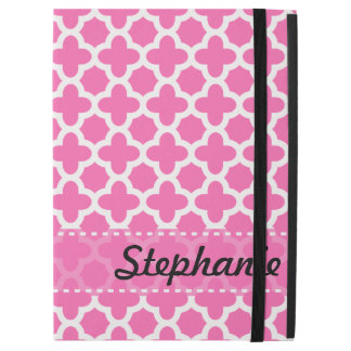 """Personalized White on Hot Pink Quatrefoil Pattern iPad Pro 12.9"""" Case"""