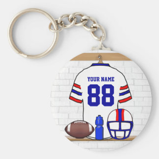 Personalized White RB Football Grid Iron Jersey Key Chains
