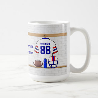 Personalized White Red Blue Football Jersey Basic White Mug