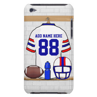 Personalized White Red Blue Football Jersey iPod Touch Cover