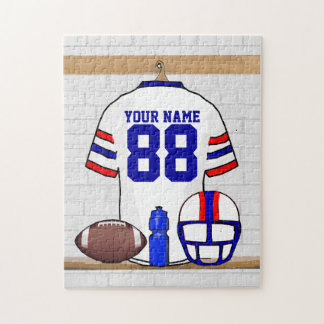 Personalized White Red Blue Football Jersey Jigsaw Puzzle