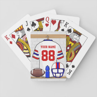 Personalized White Red Blue Football Jersey Playing Cards