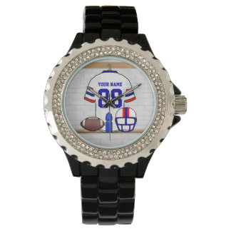 Personalized White Red Blue Football Jersey Wristwatches