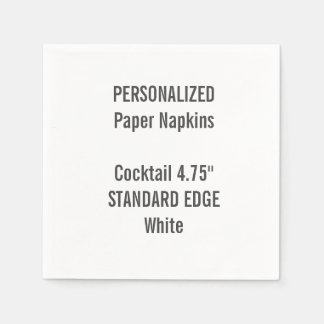 Personalized White Standard Cocktail Paper Napkins