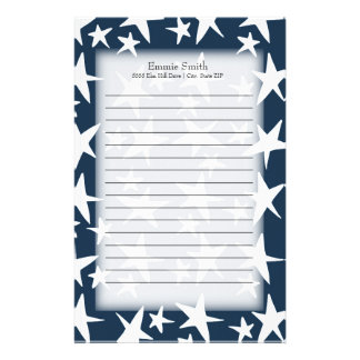 Personalized White Stars on Navy Blue Stationery
