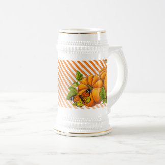 Personalized White Stein with Pumpkins and Stripes