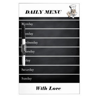 Personalized White Weekly Dinner Menu Dry-Erase Board