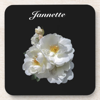 Personalized White Wild Rose Floral Coaster