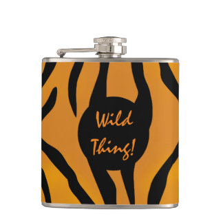 Personalized Wild Tiger Stripes Hip Flask