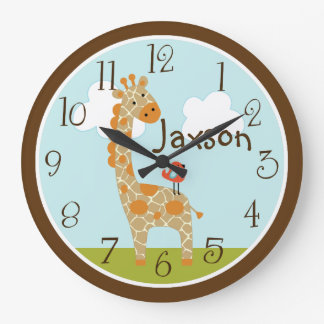 "Personalized ""Wildlife Giraffe"" Nursery Clock"