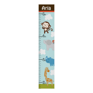 Personalized Wildlife Jungle Animal Growth Chart Poster