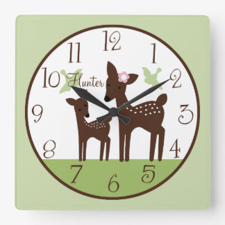 Personalized Willow Deer Mom and Baby Boy Clock