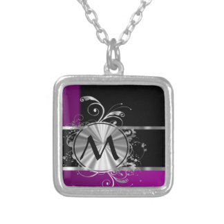 Personalized wine black and silver monogram square pendant necklace
