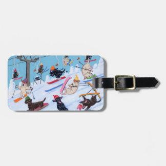 Personalized Winter Fun Skiing Labradors Painting Bag Tag