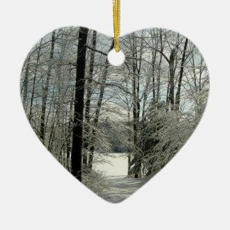 Personalized Winter Landscape Heart Shape Ornament