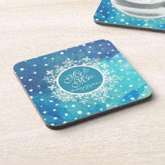 Personalized Winter Snowflakes Wedding | Coaster