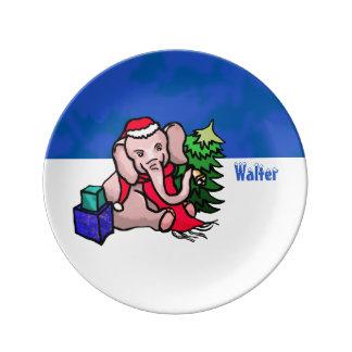 Personalized Winterland Santa Christmas Elephant Plate