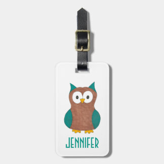 Personalized Wise Brown Owl Cartoon Bird Hoot Luggage Tag