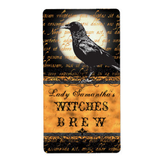 Personalized Witches Brew Halloween Bottle Label