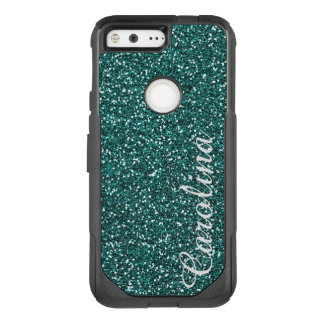 Personalized with Name Blue Glitter Otterbox OtterBox Commuter Google Pixel Case