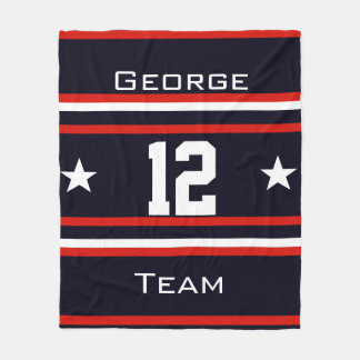 Personalized with name,#, team, sports fan Team Fleece Blanket