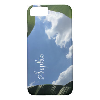 Personalized with Photo of Banana Leaf-Framed Sky iPhone 8/7 Case