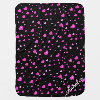 Personalized with Pink hearts, black background Baby Blanket