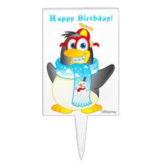 Personalized Wobble Penguin Cartoon Cake Topper
