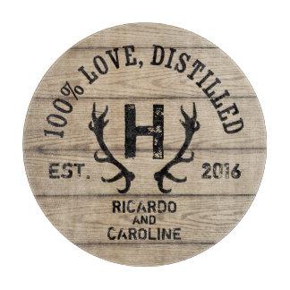 Personalized Wood Bourbon Barrel Wedding Monogram Cutting Board