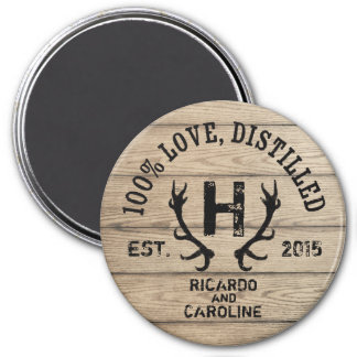 Personalized Wood Bourbon Barrel Wedding Monogram 7.5 Cm Round Magnet