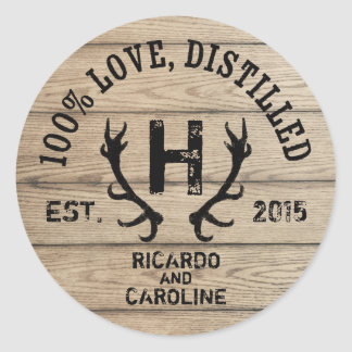 Personalized Wood Bourbon Barrel Wedding Monogram Round Sticker