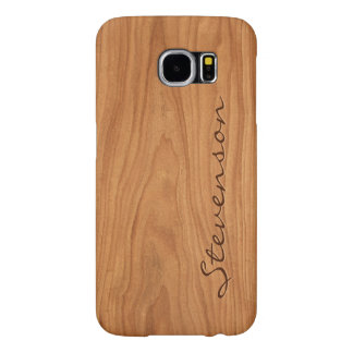 Personalized Wood Look - Walnut Wood Grain Texture Samsung Galaxy S6 Cases