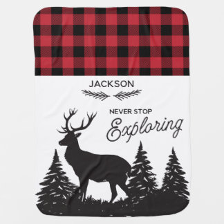 Personalized Woodland Deer Buffalo Plaid Pattern Baby Blanket