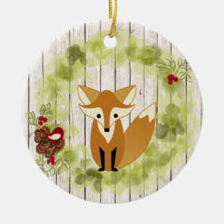 Personalized Woodland Fox, Bird and Holiday Wreath Christmas Ornament