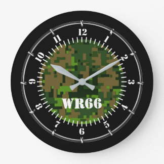 Personalized Woodland Green Camouflage on a Large Clock