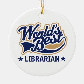 Personalized Worlds Best Librarian Gift Round Ceramic Decoration