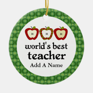 Personalized Worlds Best Teacher Apple Gift Christmas Ornament