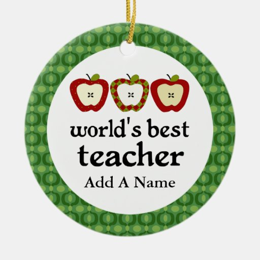 Personalized Worlds Best Teacher Apple Gift Christmas Tree Ornament
