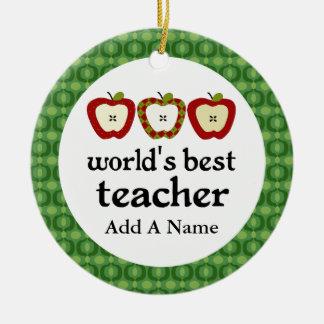 Personalized Worlds Best Teacher Apple Gift Round Ceramic Decoration