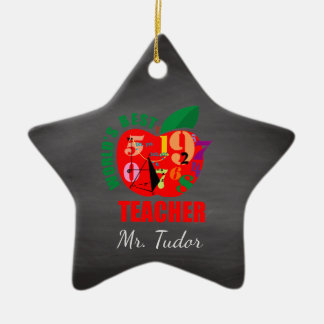 Personalized World's Best Teacher Apple | Math Christmas Ornament