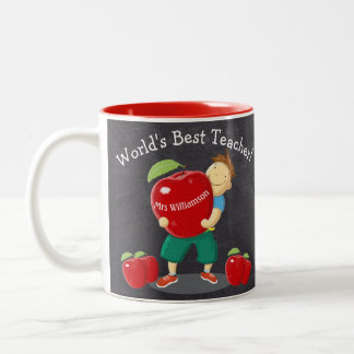 Personalized World's Best Teacher Painted Apple Two-Tone Mug