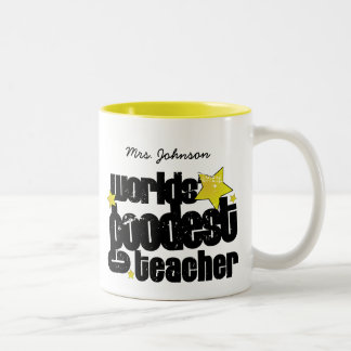 Personalized Worlds' goodest teacher Two-Tone Coffee Mug
