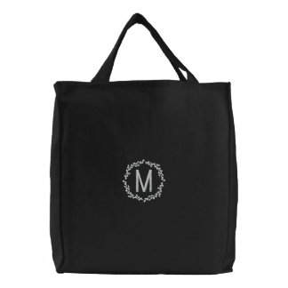 Personalized Wreath Monogram Embroidered Bag