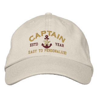 Personalized YEAR Names Captain Gold Star Anchor Embroidered Hat