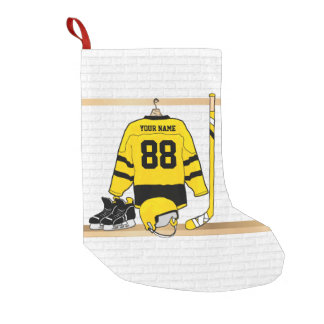 Personalized Yellow and Black Ice Hockey Jersey Small Christmas Stocking