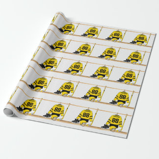 Personalized Yellow and Black Ice Hockey Jersey Wrapping Paper