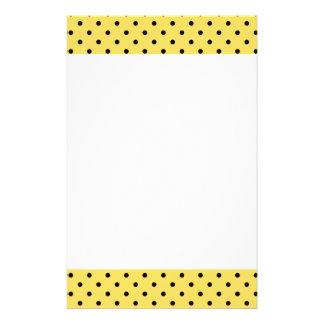 Personalized Yellow and Black Polka Dot Pattern Stationery