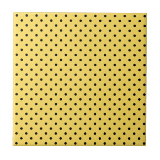 Personalized Yellow and Black Polka Dot Pattern Small Square Tile