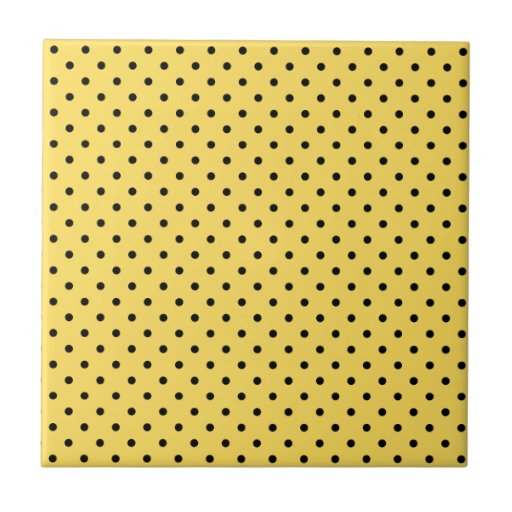Personalized Yellow and Black Polka Dot Pattern Ceramic Tile